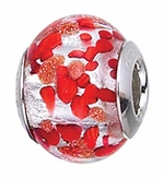 Zable Silver Red and Copper Spots Murano Glass Bead