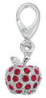 Zable Silver Red CZ Apple Bead Charm
