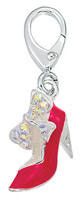 Zable Silver Red CZ High Heel Shoe with Bow Charm