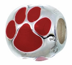 Zable Silver Red Enameled Paw Print Bead