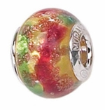 Zable Silver Red, Gold and Green Murano Glass Bead