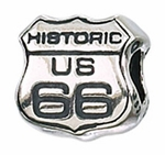 Zable Silver Route 66 Sign Bead
