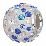 Zable Silver Shades of Blues Crystal Bead