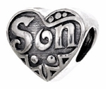 Zable Silver Son Heart Bead