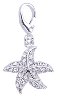 Zable Silver Starfish with Crystals Bead Charm