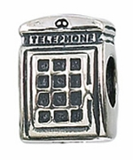 Zable Silver Telephone Booth Bead