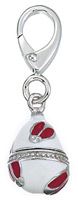 Zable Silver White and Red Faberge Egg Bead Charm