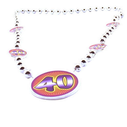 Silver 40th Birthday Beads