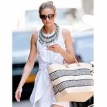 Olivia Palermo with the Caracas in NATURAL with Navy Stripe