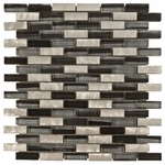 Barbados Brick Mosaic Glass & Metal Tile 8mm