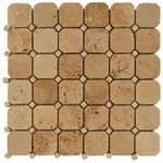 Beige Octagonal Mosaic Travertine Tile