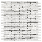 Bianco Carrara Natural Face Thin Stick Mosaic Marble Tile