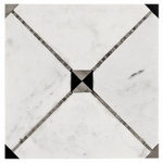 Bianco Carrara with Ath Mosaic Marble Tile Design #1