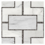Bianco Carrara with Ath Mosaic Marble Tile Design #3