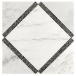 Bianco Carrara with Gray Mosaic Marble Tile Design #2
