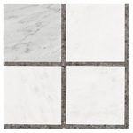 Bianco Carrara with Gray Mosaic Marble Tile Design #4