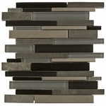 Black Timber Mosaic Glass & Stone Tile