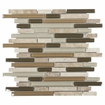Bliss Bamboo Glass Stone Linear Blend Mosaic Tile