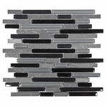 Bliss Black Timber Glass Stone Linear Blend Mosaic Tile