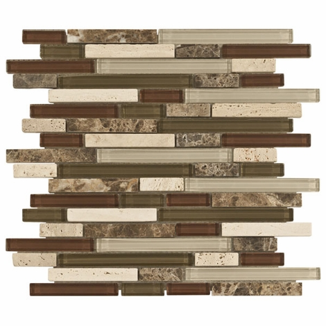 Bliss Cabernet Glass Stone Linear Blend Mosaic Tile | Floor & Decor