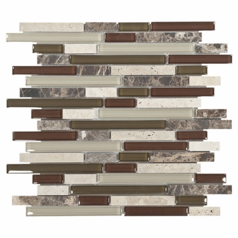Bliss Cabernet Glass Stone Linear Blend Mosaic Tile