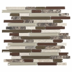 Bliss Caernet Linear Blend Glass and Stone Mosaic
