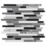 Bliss Midnight Glass Stone Linear Blend Mosaic Tile