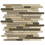 Bliss Silver Aspen Glass Stone Linear Blend Mosaic Tile