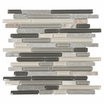Bliss Silver Aspen Linear Blend Glass and Stone Mosaic