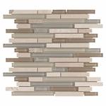 Bliss Spa Glass Stone Linear Blend Mosaic Tile