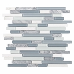 Bliss Waterfall Glass Stone Linear Blend Mosaic Tile
