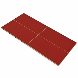 Bright Red Pepper Subway Ceramic Wall Tile