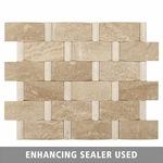 Cancun Wavy Strip Mosaic Travertine Tile