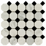 Carrara White And Black Octagon Mosaic Marble Tile