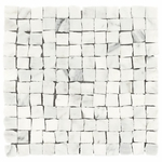 Carrara White Hand Clipped Mosaic Marble Tile