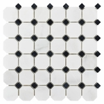 Carrara White Hexagon & Black Diamond Mosaic Marble Tile