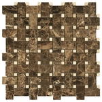 Dark Emperador Basketweave Marble Tile