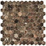 Dark Emperador Hexagon Mosaic Marble Tile