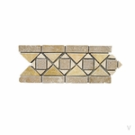 Geometric Diamond Squares Travertine Mosaic Border