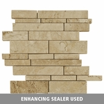 Ivory Silver Mosaic Stick Travertine Tile