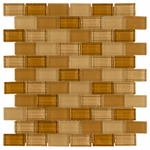 Mocha Cream Brick Mosaic Glass Tile 8mm