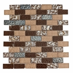 Modica Brick Mosaic Glass Tile 8mm