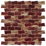 New Art Red Storm Wavey Mosaic Glass Tile