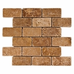 Noce Brick Mosaic Travertine Tile