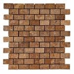 Noce Small Brick Travertine Mosaic