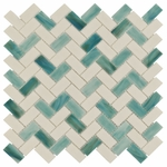 Ocean Breeze Chevron Mosaic Glass Tile