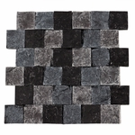Orsini Black Square Stacked Brick Decorative Travertine Mosaic