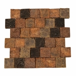 Orsini Dark Square Stacked Brick Decorative Travertine Mosaic
