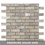 Pewter Brushed Travertine Mosaic