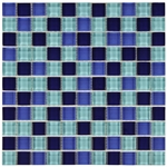 Polished Blue Mix Mosaic Glass Tile 8mm